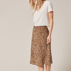 Amour Vert silk leopard skirt